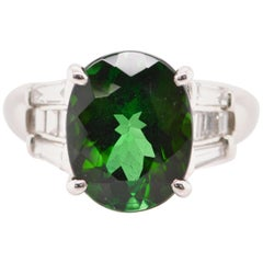 5.98 Carat Green Tourmaline and Diamond Cocktail Ring Set in Platinum