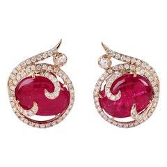5.98 Carat Ruby Diamond 18 Karat Stud Earrings