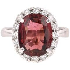 5.98 Carat Tourmaline Diamond White Gold Bridal Ring