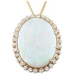 59.87 Carat Opal with Diamond Bezel Pendant 14 Karat Yellow Gold Necklace