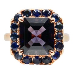 5.99 Carat Asscher Cut Spinel and Blue Sapphire Cocktail Ring 18 Karat Rose Gold