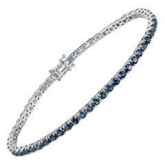 5.99 Carat Natural Blue Sapphire 18 Karat White Gold Bracelet