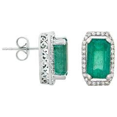 5.99 Carat Zambian Emerald & 0.46 Carat Diamonds in 18 Karat Gold Stud Earrings