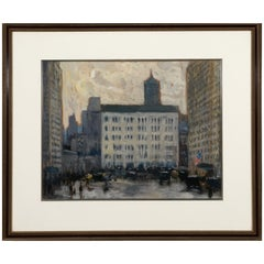 '59th St. & Fifth Ave with Plaza' Gouache Painting by Frank Hermann
