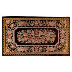 Vintage Bessarabian Kilim, Floral Handwoven Wool Rug from Moldova