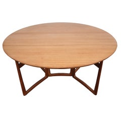 1960s Danish Peter Hvidt Drop-Leaf Dining Table in Teak and Brass