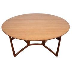 1960s Danish Peter Hvidt Drop-Leaf Dining Table in Teak and Brass