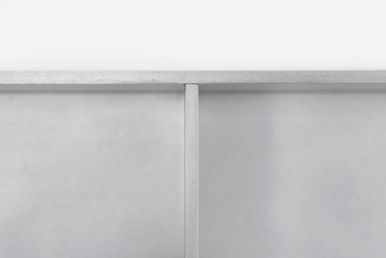 Minimalist 5G Wall-Mounted Shelf in Waxed Aluminum Plate by Jonathan Nesci For Sale