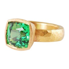 5mm Hammered 22ct Gold Ring with Antique Cushion Shaped Tsavorite Garnet 5.69ct