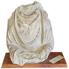 5th Century Indian Headless Bust Stone Carving of a Princess
