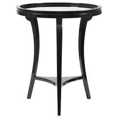 5th Side Table in Black with Grey Mirror Top