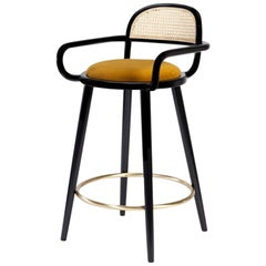 5x Luc Counter Chair in Solid Wood, Brass and Leather Seat