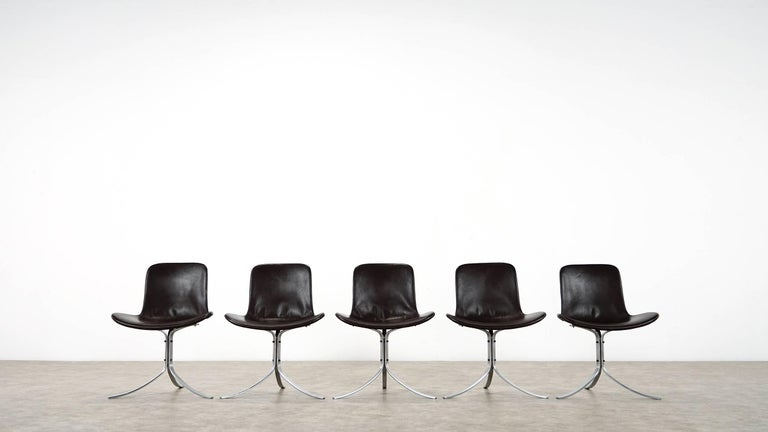 Danish Five Poul Kjærholm PK9 Chairs, Dark Brown Leather, 1985 by Fritz Hansen, Denmark For Sale