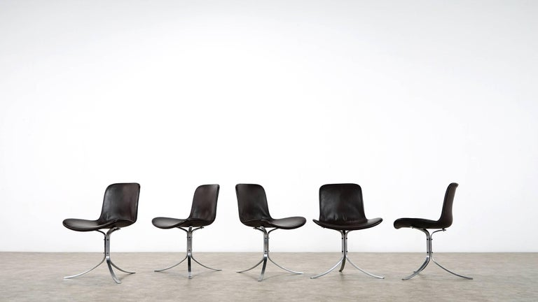 Five Poul Kjærholm PK9 Chairs, Dark Brown Leather, 1985 by Fritz Hansen, Denmark In Good Condition For Sale In Munster, NRW
