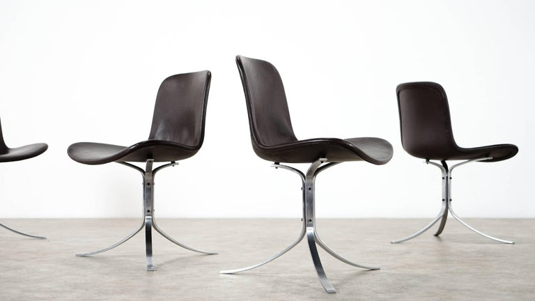 Five Poul Kjærholm PK9 Chairs, Dark Brown Leather, 1985 by Fritz Hansen, Denmark For Sale 2