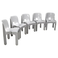 5 White Joe Colombo Universale Plastic Chairs by Kartell, Italy, 1967