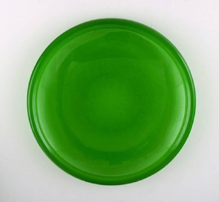 12 plates in green art glass, Josef Frank.