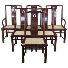 6 1980s White Furniture Mahogany & Burl Mandarin Ming Chinoiserie Dining Chairs