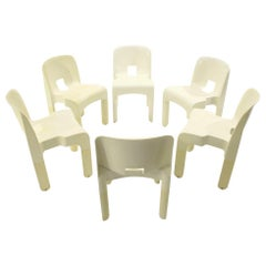 """6 """"4860"""" Chairs in White Plastic by Joe Colombo for Kartell, 1960s"""
