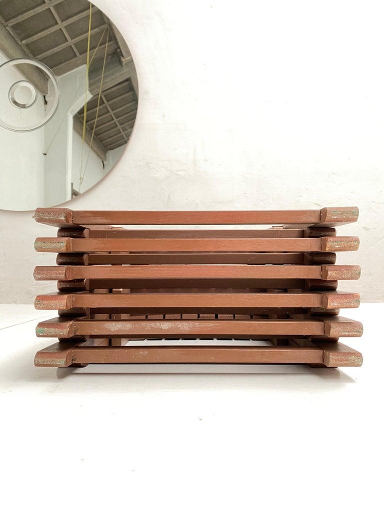 6 Aldo Jacober Folding Chairs Alberto Bazzani 1966 Italy, Low Volume Storage For Sale 2