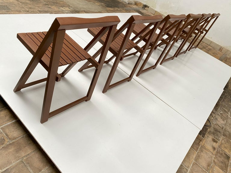 6 Aldo Jacober Folding Chairs Alberto Bazzani 1966 Italy, Low Volume Storage For Sale 7