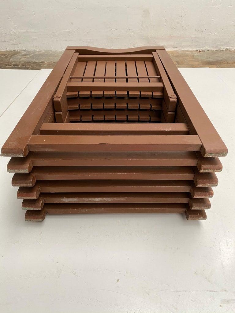 6 Aldo Jacober Folding Chairs Alberto Bazzani 1966 Italy, Low Volume Storage For Sale 8