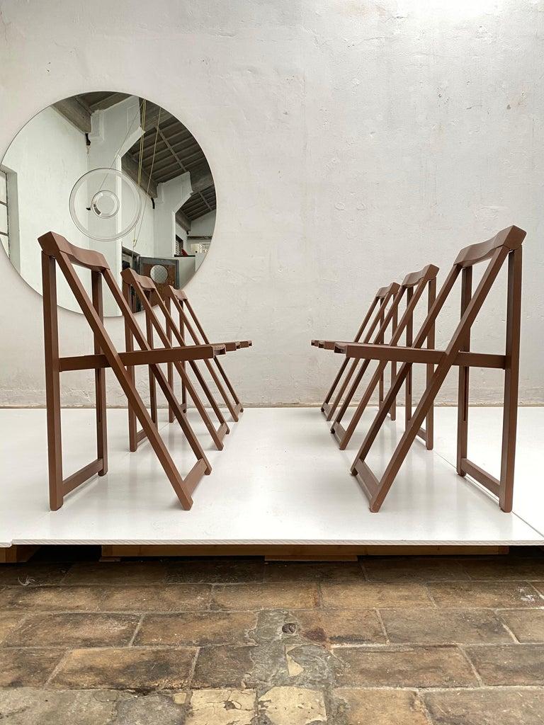 Minimalist 6 Aldo Jacober Folding Chairs Alberto Bazzani 1966 Italy, Low Volume Storage For Sale
