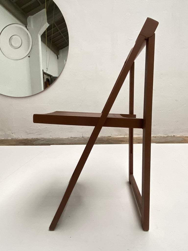 Stained 6 Aldo Jacober Folding Chairs Alberto Bazzani 1966 Italy, Low Volume Storage For Sale