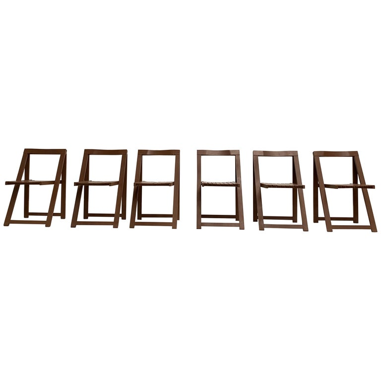 6 Aldo Jacober Folding Chairs Alberto Bazzani 1966 Italy, Low Volume Storage For Sale