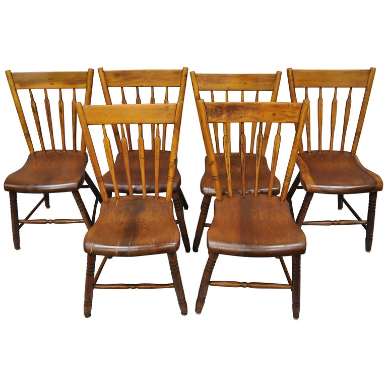 Antique Windsor Chairs Dining: 6 Antique American Colonial Farmhouse Windsor Country