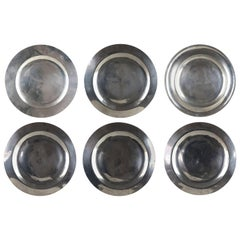 6 Antique Brightly Polished Pewter Chargers, English, 18th Century