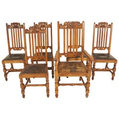6 Antique Carved Oak Arts & Crafts Dining Chairs '5 + 1', Scotland 1910, B2417