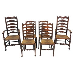 6 Antique Chairs, Ladder Back Oak Rush Seat, Farmhouse Kitchen, Scotland, B2362