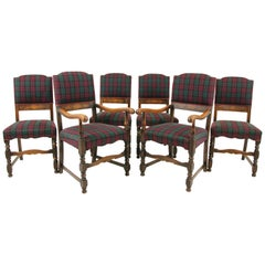 6 Antique Dining Chairs, Carved Oak Upholstered Chairs, Scotland 1920