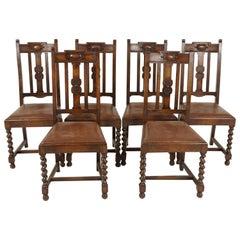 6 Antique Dining Chairs, Oak Barley Twist, Set of 6, Scotland 1920, B2210