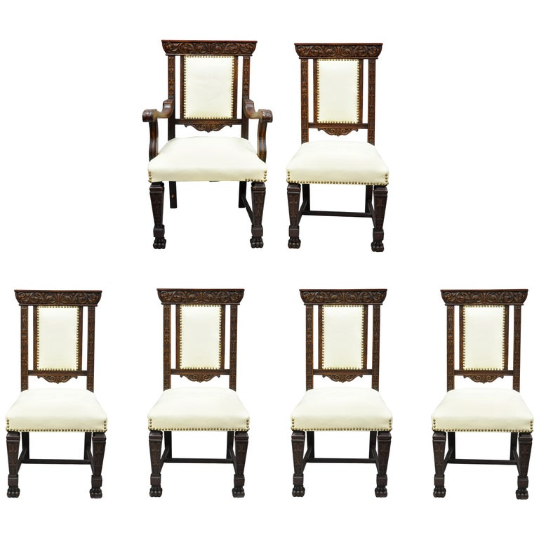 Antique Dining Room Chairs For Sale: 6 Antique Italian Renaissance Carved Oak Wood Upholstered