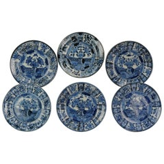#6 Antique Japanese Porcelain 1680-1710 Edo Period Kraak Dinner Plates