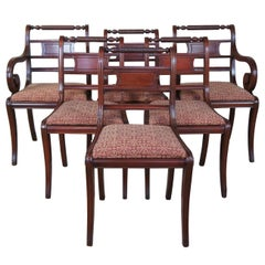6 Antique Mahogany English Regency Traditional Rope Back Dining Chairs