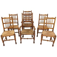6 Antique Rush Seated Chairs, Country Lancashire Farmhouse, Spindle Back Chairs