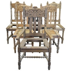 6 Antique Victorian Carved Oak Gothic Revival North Wind Face Dining Chairs