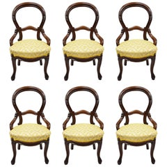 6 Antique Victorian Carved Walnut Balloon Back Parlor Dining Chairs
