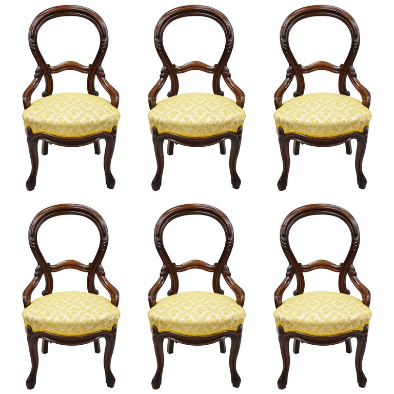 Dinette Chairs For Sale: 6 Antique Victorian Carved Walnut Balloon Back Parlor