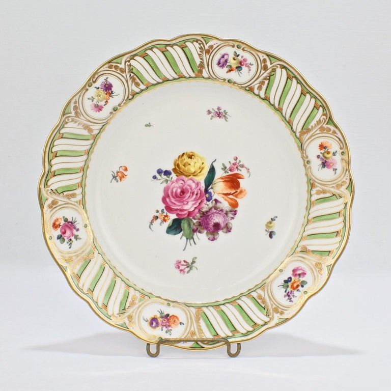 6 Antique Vienna Porcelain Plates with Green Borders & Deutsche Blumen Flowers For Sale 3