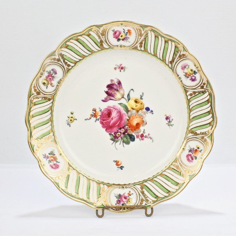 6 Antique Vienna Porcelain Plates with Green Borders & Deutsche Blumen Flowers For Sale 4
