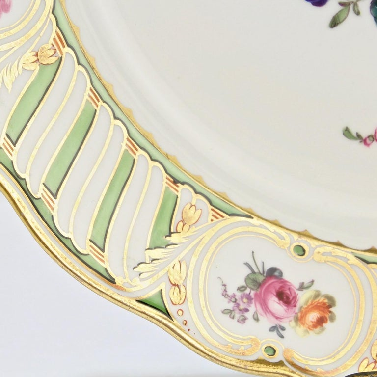 6 Antique Vienna Porcelain Plates with Green Borders & Deutsche Blumen Flowers For Sale 8