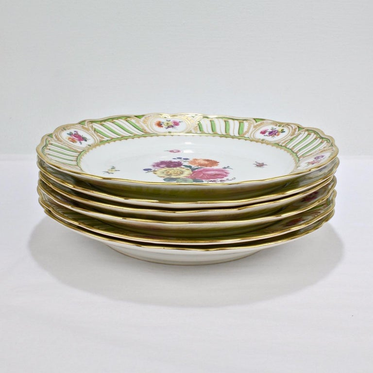 Austrian 6 Antique Vienna Porcelain Plates with Green Borders & Deutsche Blumen Flowers For Sale