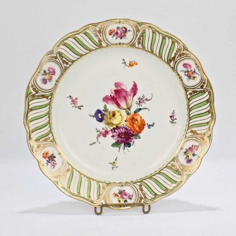 19th Century 6 Antique Vienna Porcelain Plates with Green Borders & Deutsche Blumen Flowers For Sale