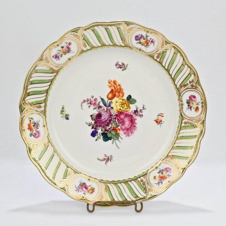 6 Antique Vienna Porcelain Plates with Green Borders & Deutsche Blumen Flowers For Sale 1