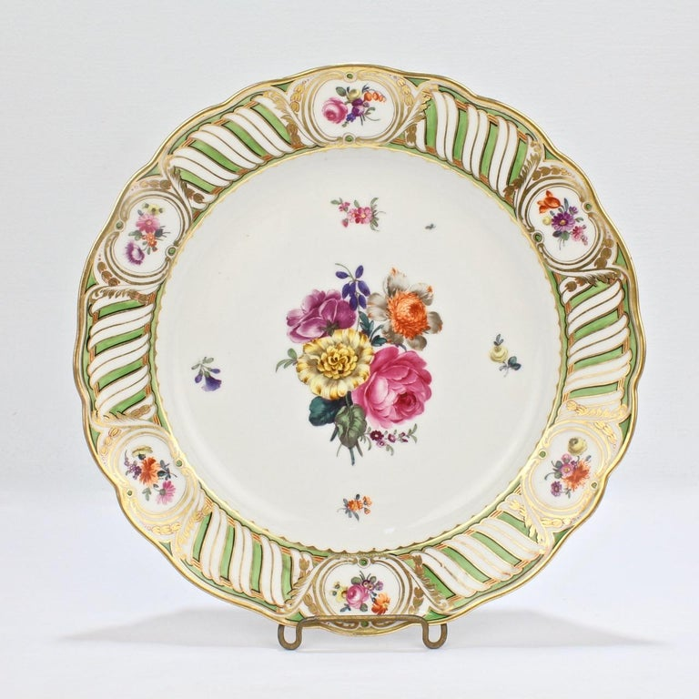 6 Antique Vienna Porcelain Plates with Green Borders & Deutsche Blumen Flowers For Sale 2