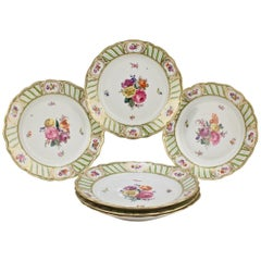 6 Antique Vienna Porcelain Plates with Green Borders & Deutsche Blumen Flowers